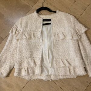 Cream ruffled jacket